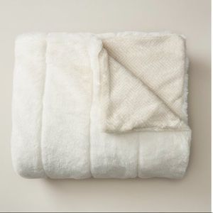 White snowfall faux fur blanket throw boho decor